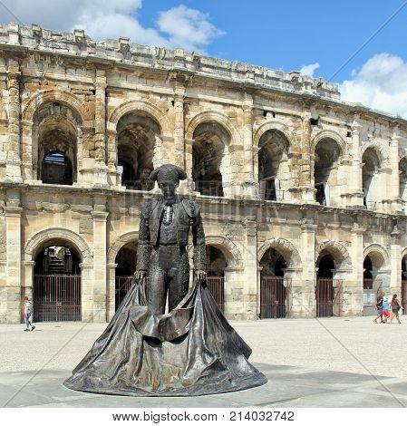 Nimes, Gard, France - Sep 02 2017: The Statue Of The Matador Christian Montcouquiol (