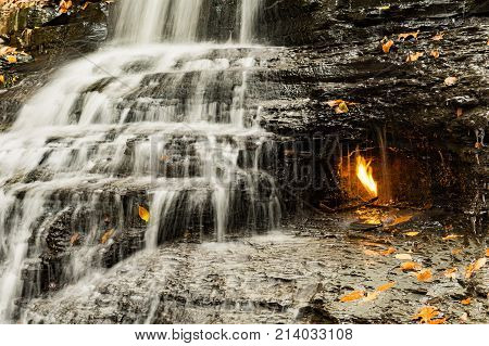 A close up of Eternal Flame Waterfall in New York