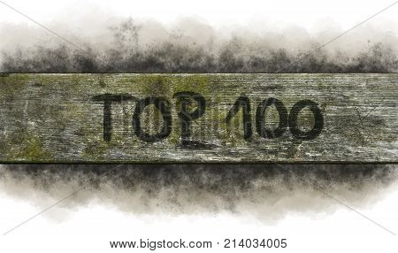 painted top 100 on old wooden plank
