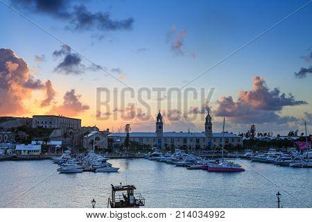 Harbor at Sunset at Bermuda's Old Naval Dockyard
