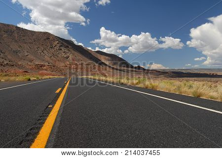 A view from the center of the lane while exploring southern Utah in the south western United States.