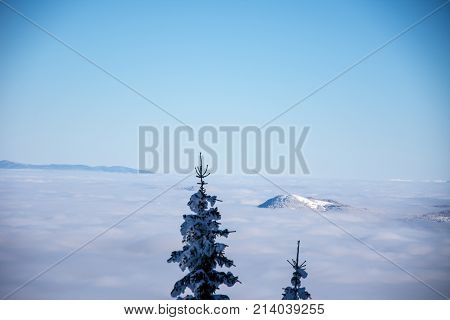 View to the mist from the top of the mountain Jahorina in Bosnia and Herzegovina