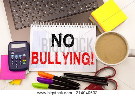 No Bullying Text In The Office With Surroundings Such As Laptop, Marker, Pen, Stationery, Coffee. Bu