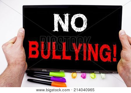 No Bullying Text Written On Tablet, Computer In The Office With Marker, Pen, Stationery. Business Co