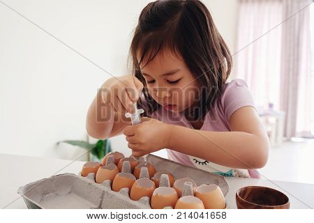 Mixed Asian Girl Watering Seeds In Eggshells,, Eco Gardening,  Montessori, Education Concept
