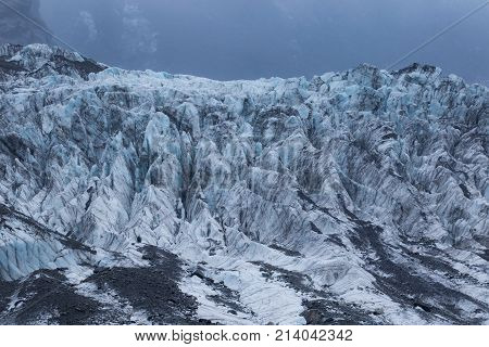 detail of frosty ice in franz josef glacier new zelaand
