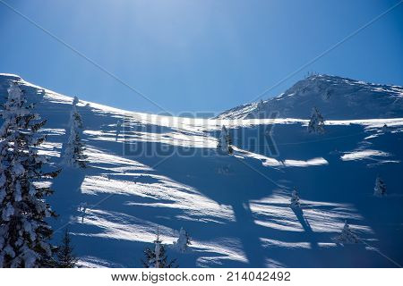 Mountain top and the forest covered in snow on Jahorina Bosnia and Herzegovina