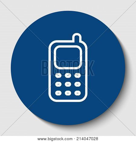 Cell Phone sign. Vector. White contour icon in dark cerulean circle at white background. Isolated.