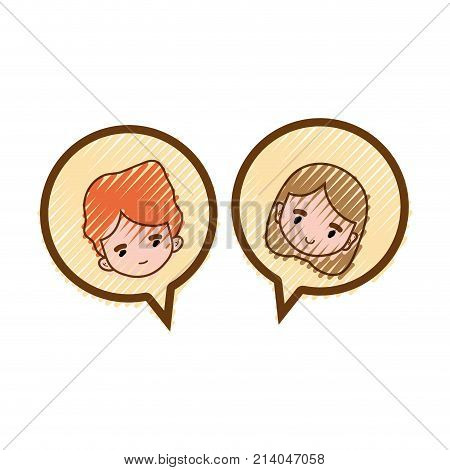 grated boy and girl head inside chat bubble vector illustration