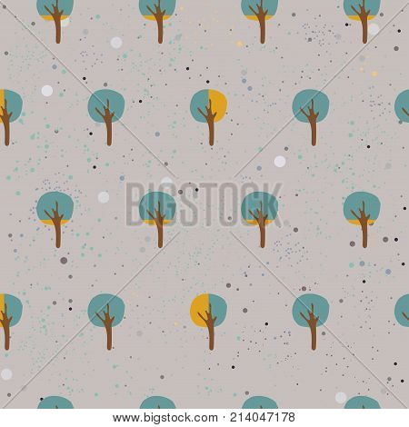 Small Tree Seamless Pattern. Small Sized trees. Vector Illustration