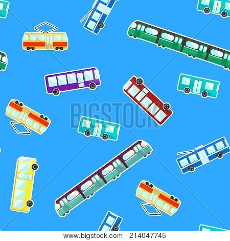 Bright kids pattern with color cartoon flat city transport on blue background. Cute children texture with bus tram trolley bus and subway for wrapping paper textile wallpaper cover package