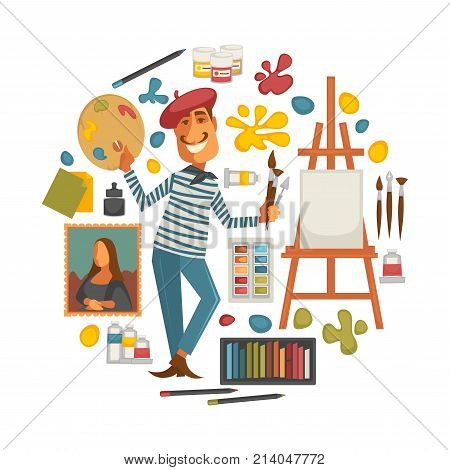 Creative poster with artist and tools to paint in circle. Palette with paint, colorful blots, wooden easel with blank canvas, fluffy brushes and man with mustaches in red beret vector illustrations.