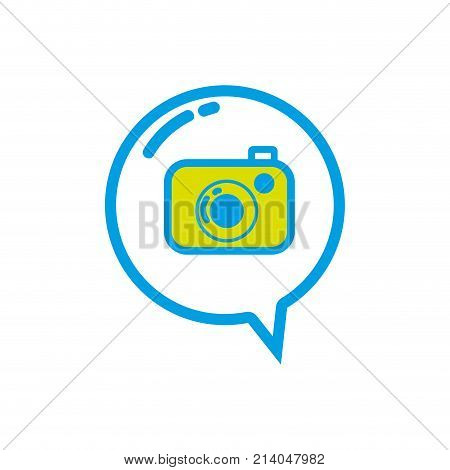 digital camera technology inside chat bubble vector illustration