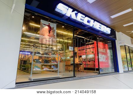 Penang Malaysia - Nov 11 2017 : Skechers shop. Skechers USA Inc. is an American lifestyle and performance footwear company for men women and children. Headquartered in Manhattan Beach California the brand was founded in 1992.