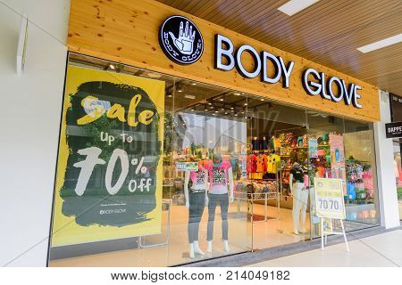 Penang Malaysia - Nov 11 2017 : Body Glove shop. Body Glove IP Holdings LP is a surf/dive/wake/ outdoor water sports brand started in the United States. Body Glove was founded in 1953 by twin brothers Bill and Bob Meistrell.