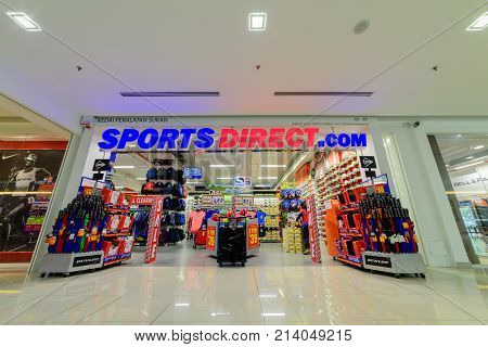 Penang Malaysia - Nov 12 2017 : Sports Direct shop. Sports Direct International plc is a British retailing group. Established in 1982 by Mike Ashley the company is the United Kingdom's largest sports-goods retailer and operates roughly 670 stores worldwid