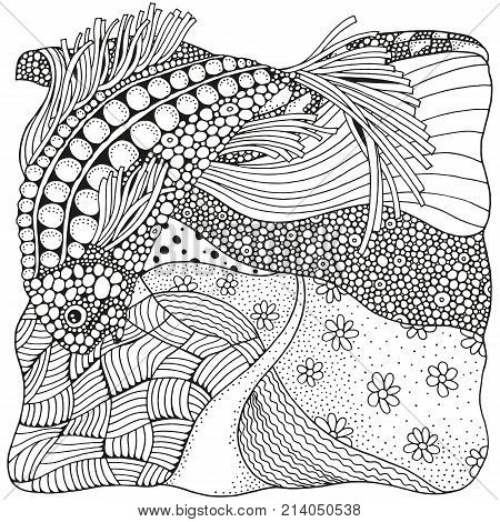 Black and white abstract fantasy picture. Coloring book for adult. Zen art. Fantastic fish. Eco theme. Pattern for coloring book. Hand-drawn ethnic doodle vector zentangle tribal design element.