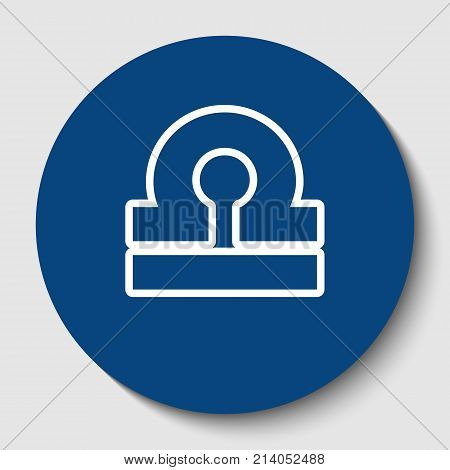 Libra sign illustration. Vector. White contour icon in dark cerulean circle at white background. Isolated.
