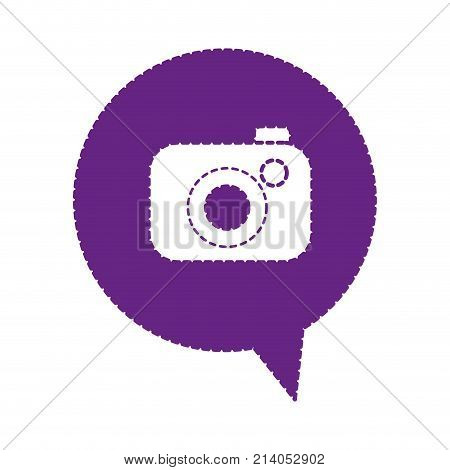 dotted shape digital camera technology inside chat bubble vector illustration