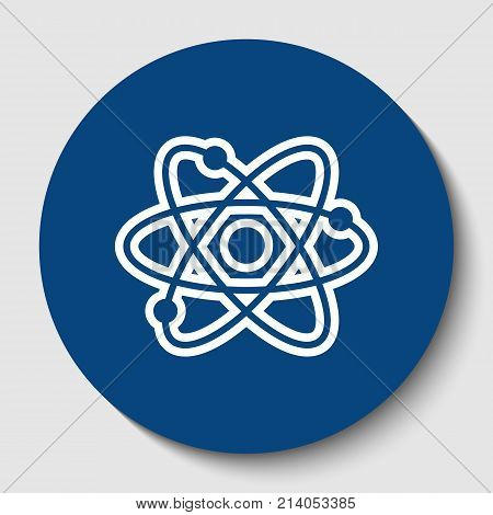 Atom sign illustration. Vector. White contour icon in dark cerulean circle at white background. Isolated.