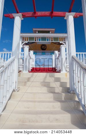 Cayo Santa Maria Cuba - January 31 2017: Terrace above the swimming pool in Hotel Gaviota Cayo Santa Maria.Cayo Santa María is well known for its white sand beaches and luxury all inclusive resorts.