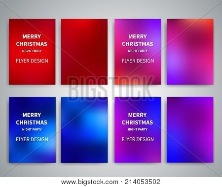 Christmas Flyer design templates. Set of A4 brochure flyer design templates wth colorful background. Design for Christmas party flyers, invitation cards, Christmas banner, brochure