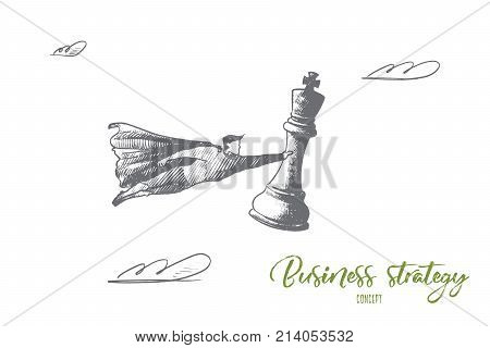Business strategy concept. Hand drawn superhero with chess figure in hand. Flying man holds chess figure king as symbol of win isolated vector illustration.