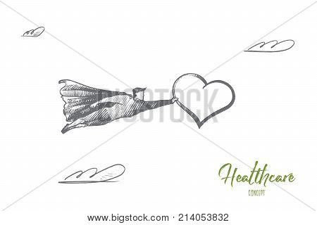 Healthcare concept. Hand drawn superhero with big heart in hand. Flying man holds heart as symbol of healthcare isolated vector illustration.
