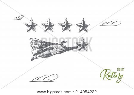 Rating concept. Hand drawn superhero with 5-th star which mean win and best result. Flying man holds rating star isolated vector illustration.