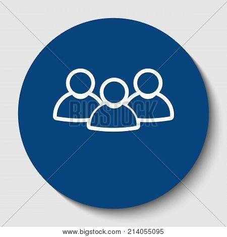 Team work sign. Vector. White contour icon in dark cerulean circle at white background. Isolated.
