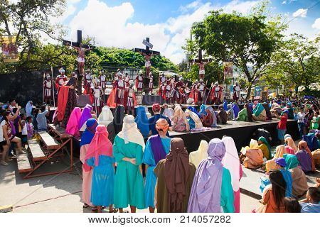 CEBU, PHILIPPINES-MARCH 25, 2016: Siete Palabras, Sugat and Easter Sunday Mass on March 25. 2016. in Cebu Metropolitan Cathedral , Cebu city. Philippines.
