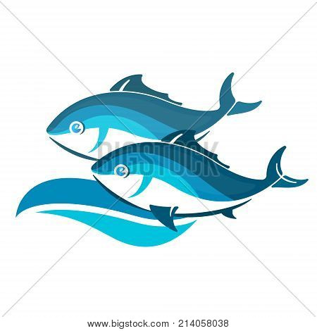 Two fishes on blue wave vector v
