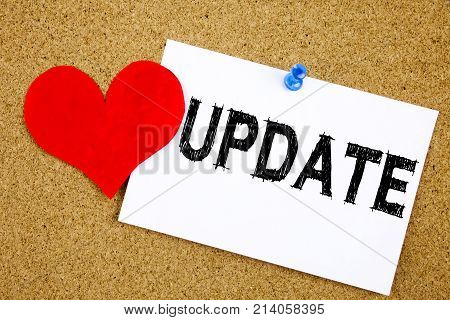 Hand Writing Text Caption Inspiration Showing Update Concept Meaning Love Digital Internet Improveme