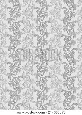 Volumetric seamless floral pattern background. Paper cut out seamless floral pattern.