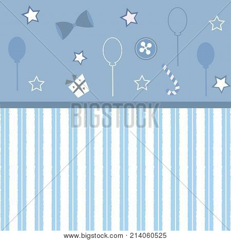 Cute Girlish Frame with stripes in Blue. Vector Illustration