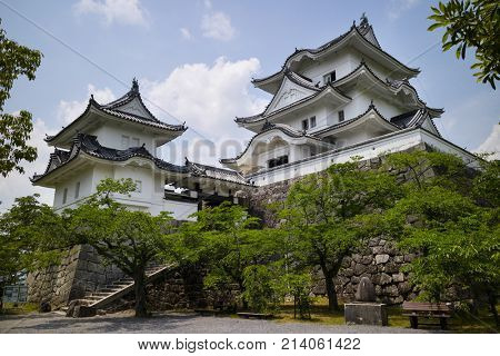 Iga Ueno - Japan, June 1, 2017:  The reconstructed Ninja castle of Iga Ueno also known as