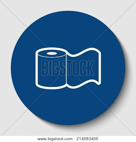 Toilet Paper sign. Vector. White contour icon in dark cerulean circle at white background. Isolated.