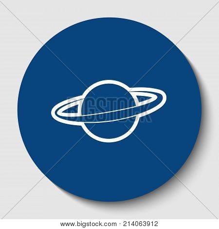 Planet in space sign. Vector. White contour icon in dark cerulean circle at white background. Isolated.
