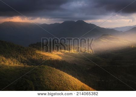 Beautiful scenery during time the sunset view on the top of Doi Pha Phung at Nan province in Thailand is a very popular for photographers and tourists. Attractions and natural Concept