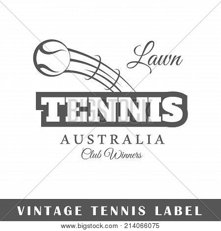 Tennis label isolated on white background. Design element. Template for logo signage branding design. Vector illustration