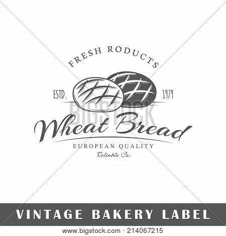 Bakery label isolated on white background. Design element. Template for logo signage branding design. Vector illustration
