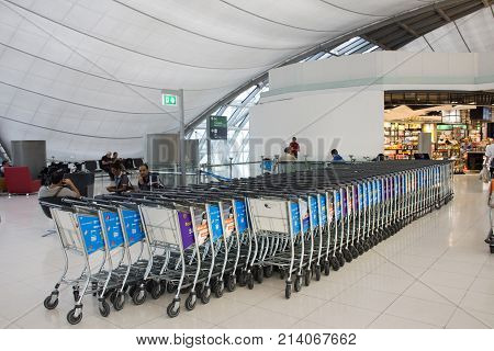 Airport Trolley Parking Lot With Empty Trolleys Waiting Travelers People Use Service At Suvarnabhumi