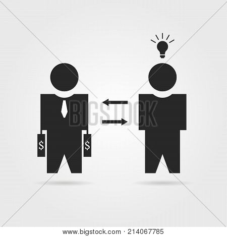 black startuper and investor icon. concept of dollar credit, capital depositor, profit sale, light bulb, teacher, opportunity, sponsor. flat style trend logotype graphic design on white background
