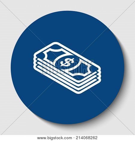 Bank Note dollar sign. Vector. White contour icon in dark cerulean circle at white background. Isolated.
