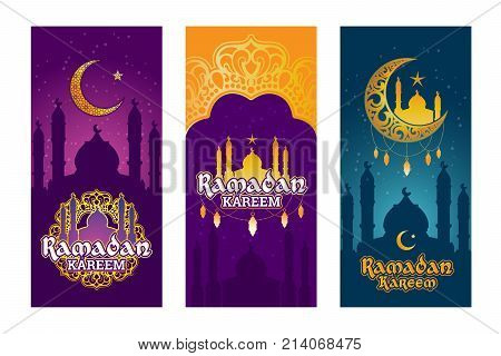 Collection of colored banners for Ramadan Kareem with Ramadan elements, towers of mosque, vintage moon and arabic pattern. Set of design elements for Ramadan greeting