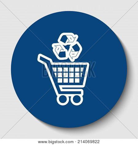 Shopping cart icon with a recycle sign. Vector. White contour icon in dark cerulean circle at white background. Isolated.