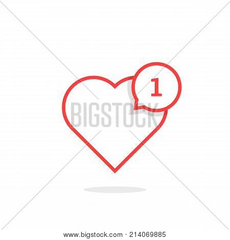 thin line heart like notification. concept of user interface element, number count, popular vote, ad topic, web community. flat linear style trend modern logotype graphic design on white background