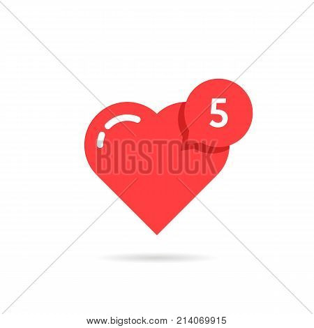 red heart like simple notification. concept of user interface element, number count, popular vote, ad topic, web community, profile. flat style trend modern logotype graphic design on white background