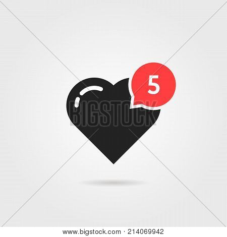 simple heart like red notification. concept of user interface element, number count, popular vote, ad topic, web community, profile. flat style trend modern logotype graphic design on gray background