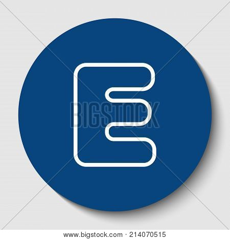 Letter E sign design template element. Vector. White contour icon in dark cerulean circle at white background. Isolated.